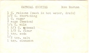 My Grandmother's Oatmeal Cookie Recipe